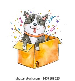 Watercolor hand drawn illustration of the cute husky popping out of the yellow box.