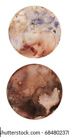 Watercolor hand drawn illustration of dwarf planet Pluto and her satellite Charon.