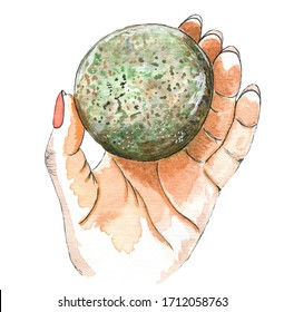 Watercolor hand drawn illustration of female hand holding round green stone as a planet or earth as concept of world globe