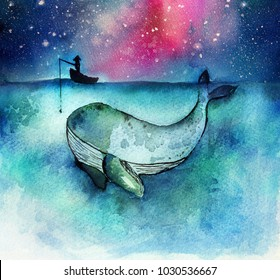 Watercolor hand drawn illustration of fisherman with a big whale fish in the deep ocean blue , an idea for business concept for success or finding the big target in the market