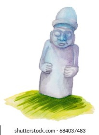 Watercolor hand drawn illustration for Jeju island promotion: Dol Hareubang, also called Tol Harubang, Beoksumeori or Jeju Stone Grandfather. Famous Jeju Basalt or Volcanic Rock Statue.