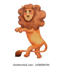 Watercolor hand drawn illustration of lion. Standing animal. Cartoon style of illustration. Smiling character. Fairy tale medieval symbol. Character for emblem. Brave mascot. Royal emblem.