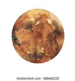 Watercolor hand drawn illustration of Mercury planet.