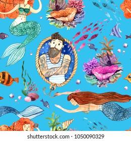 Watercolor hand drawn illustration mermaid and fish