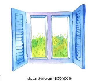 Watercolor hand drawn illustration of open window and green tree outside isolated on white background
