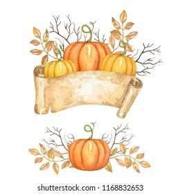 Watercolor hand drawn illustration of pumpkins, ribbon and leaves