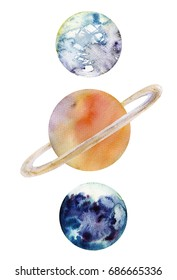 Watercolor hand drawn illustration of Saturn planet and her moons Enceladus and Titan.