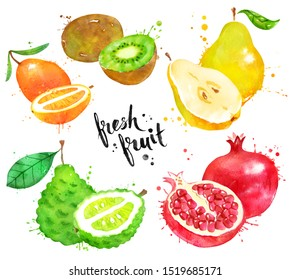Watercolor hand drawn illustration set of fruit whole and half. With paint smudges and splashes.