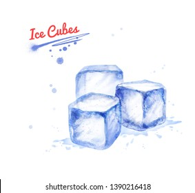 Watercolor hand drawn illustration of three Ice Cubes. With paint splashes.