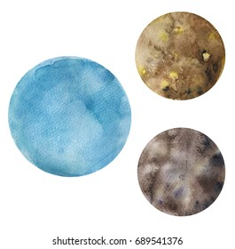 Watercolor hand drawn illustration of Uranus planet and her Moons Titania and Oberon.