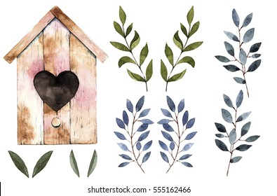 Watercolor hand drawn illustration.Wooden birdhouse. Branches set.