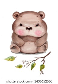 Watercolor hand drawn isolated cartoon cute brown bear.