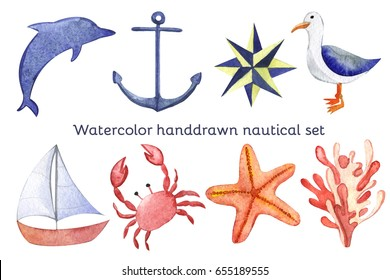 Watercolor hand drawn isolated on white nautical set with anchor, dolphin, crab, seagull,, ship, compass, algae, seaweed. Colorful hand drawn image for your design ideal for sites, brochures etc