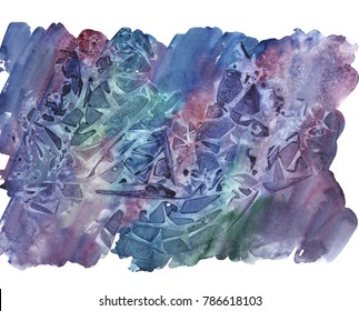 Watercolor hand drawn isolated wash spot on white background. Blue and violet watercolor blot for your design. Space theme. Sample element for wallpaper, label, poster, packing, postcard.