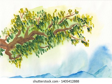 Watercolor hand drawn landscape of blue vibrant mountain peaks with green tree branch in front isolated on white. Peaceful tranquil abstract nature background for relaxation, meditation & restoration.