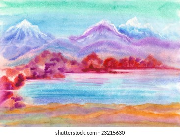 watercolor hand drawn landscape with mountains and lake