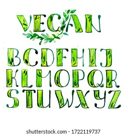 Watercolor hand drawn lettering alphabet with green letters. Vegan products design. Graphics. Font style.