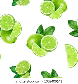 Watercolor hand drawn lime fruit seamless pattern.