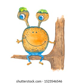 Watercolor hand drawn monster  on a branch of tree isolated on white background. Childish colorful cute alien.