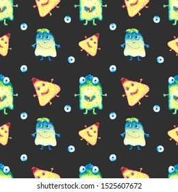 Watercolor hand drawn monsters and eyes  seamless pattern on black background.  Colorful ghosts endless print.