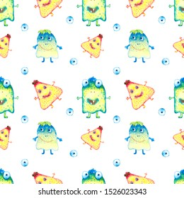 Watercolor hand drawn monsters and eyes  seamless pattern on white background.  Colorful ghosts endless print.
