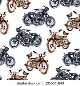 Watercolor hand drawn motorcycle illustration. Seamless pattern.