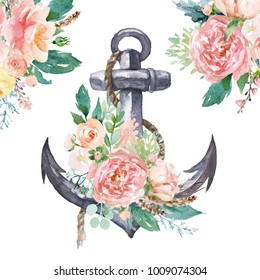 Watercolor hand drawn nautical / marine / floral illustration with anchor, rope and peach color flower bouquet with green leaves. Sign, object, corner, frame clipart for invitations, decoration, DIY.