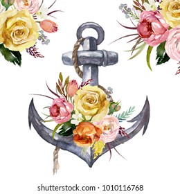 Watercolor hand drawn nautical / marine / floral illustration with anchor, rope and flower bouquet with green leaves arrangement. Icon, object, corner, frame clipart for invitations, decoration, DIY.