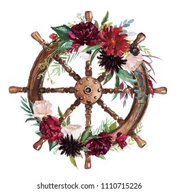 Watercolor hand drawn nautical / marine / floral illustration with steering wheel & flower bouquet with green leaves arrangement. Icon, object, corner, frame clipart for invitations, decoration, DIY.