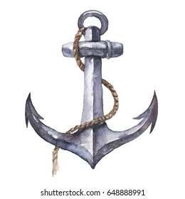 Watercolor hand drawn nautical / marine illustration with anchor and rope