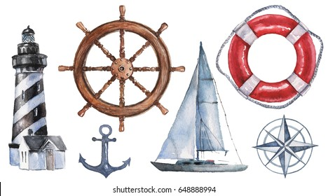 Watercolor hand drawn nautical / marine illustration with lighthouse, lifebuoy, anchor, steering wheel, boat and compass