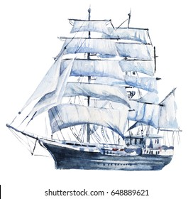 Watercolor hand drawn nautical / marine illustration with sailing ship