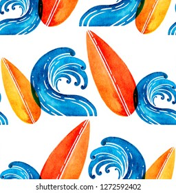 Watercolor hand drawn orange surfboards and bluel waves isolated on white background. Seamless pattern in cartoon style. Surfing concept.