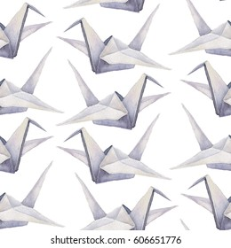 Watercolor hand drawn origami seamless pattern with cranes on transparent background