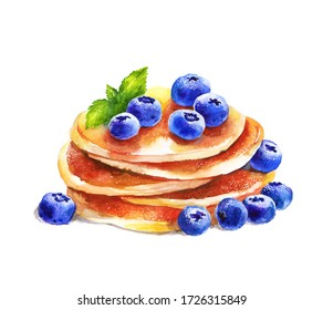 Watercolor hand drawn pancakes with blueberries and mint. Delicious healthy breakfast with berries. Vegetarian home made snack. Menu design.