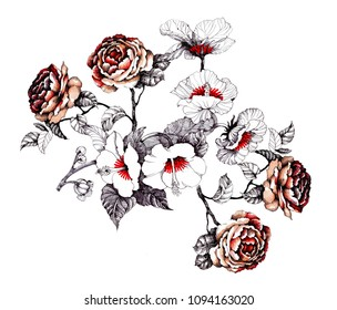 Watercolor hand drawn pattern with beautiful flowers on white background