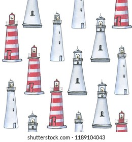 Watercolor hand drawn pattern with lighthouse in sketch style on white background