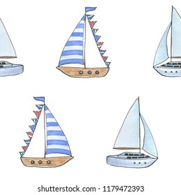 Watercolor hand drawn pattern with ship on white background