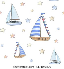 Watercolor hand drawn pattern with yachts and stars  on white background