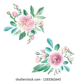 Watercolor Hand Drawn Peonies, Roses, Anemonies, Freesia and Eucalyptus Bouquet Set