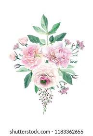 Watercolor Hand Drawn Peonies, Roses, Ranunculus and Eucalyptus Bouquet