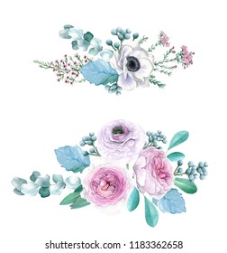 Watercolor Hand Drawn Peonies, Roses, Anemonies, Ranunculus and Eucalyptus Bouquet