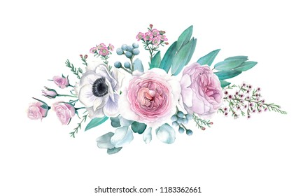 Watercolor Hand Drawn Peonies, Roses, Anemonies and Eucalyptus Bouquet
