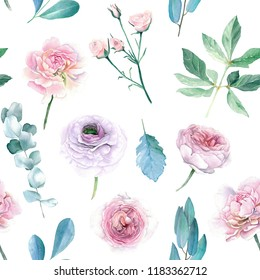 Watercolor Hand Drawn Peony and Roses Seamless Pattern