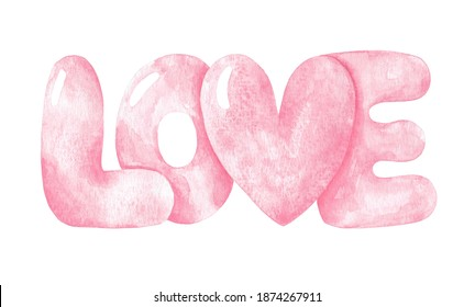 Watercolor hand drawn pink love lettering. Love sign illustration isolated on white background. Valentine's day design element. Inflated word for 14th February.