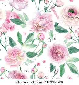 Watercolor Hand Drawn Pink Peony Seamless Pattern