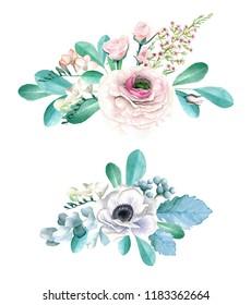 Watercolor Hand Drawn Ranunculus, Roses, Anemonies and Eucalyptus Bouquet