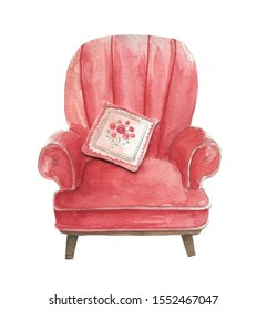 Watercolor hand drawn red and cozy vintage armchair, sofa with cushion isolated white background. Warm and comfort autumn mood. -Illustration
