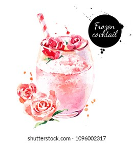 Watercolor hand drawn rose frozen cocktail illustration. Painted sketch isolated on white background