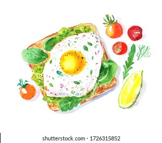 Watercolor hand drawn sandwich with avocado, young spinach, egg, tomatoes and lemon slice. Healthy nourishing breakfast idea. Menu design.